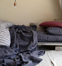 Charcoal stonewashed linen fitted sheet