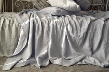 Silver light grey luxurious linen fitted sheet