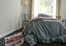 Duck Egg Blue stonewashed linen quilt cover. Heavy weight rustic linen