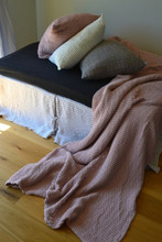 Waffle Linen Blanket, Rose Quartz (Blush). Extra Heavy natural linen