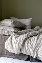 Rustic Ticking Stripe stonewashed linen quilt cover. Heavy weight rustic linen