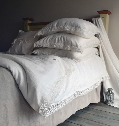 Antique white natural linen quilt cover with lace, Provincial Living