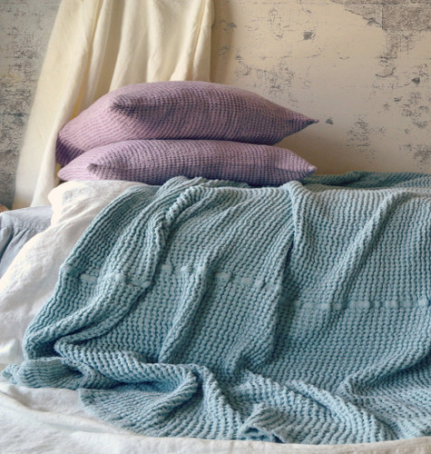 Waffle Linen Blanket Fossil Grey Colour
