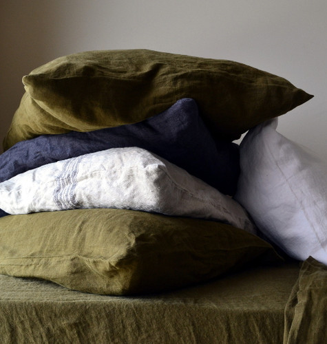 Olive Green Stonewashed Linen Pillowcase