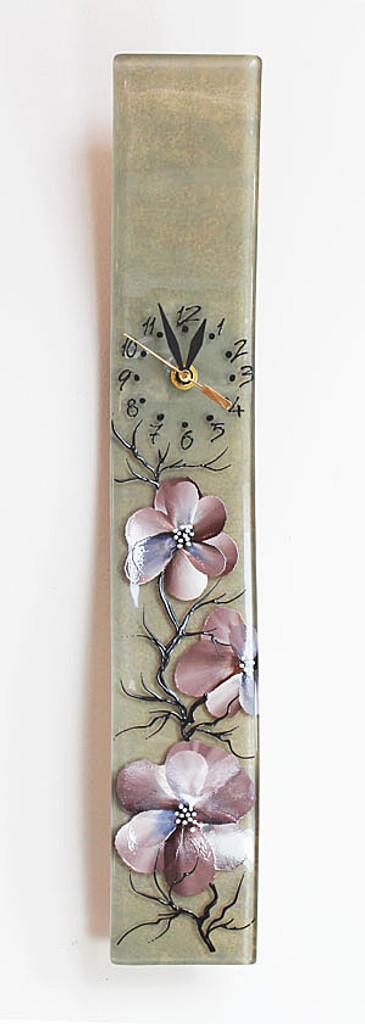 "Arciform Billet Clock ""Blossoms Beige"""