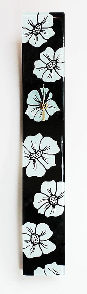 "Arciform Billet Clock ""White Blossoms on Black"""