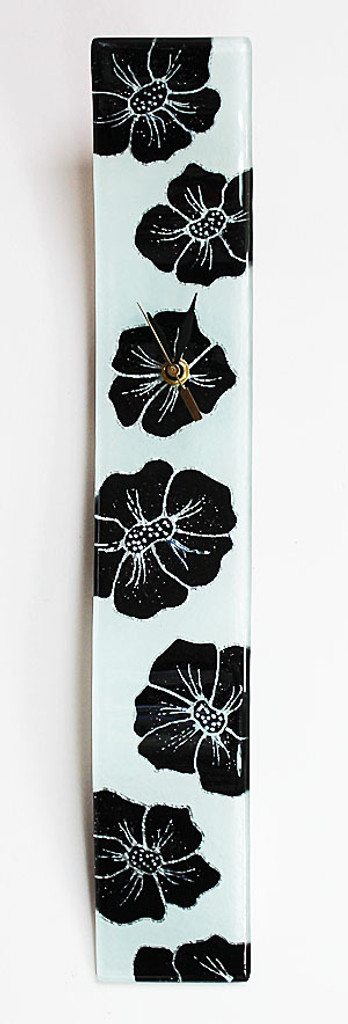 "Arciform Billet Clock ""Black Blossoms on White"""