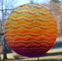 """Water Glass Sun Disk  """"Gentle Wave Sunset Colors """""""