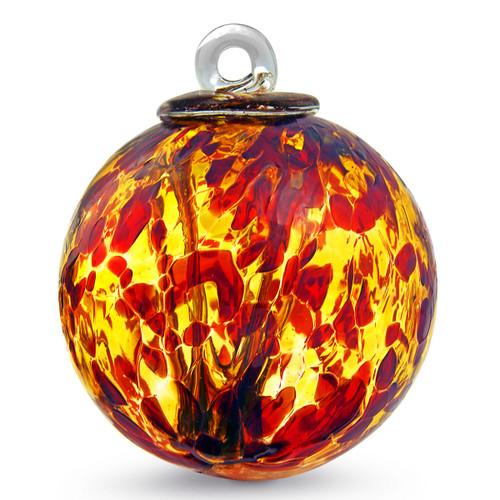 "Witch Ball ""Garnet Red & Gold Topaz"" 4 Inch"