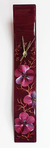 "Arciform Billet Clock ""Blossoms Red"""