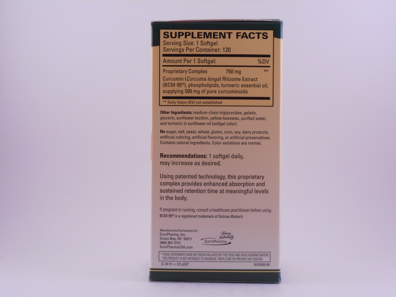 4 Bottles of Terry Naturally EuroPharma Curamed 750mg 120 Softgels *PLUS*