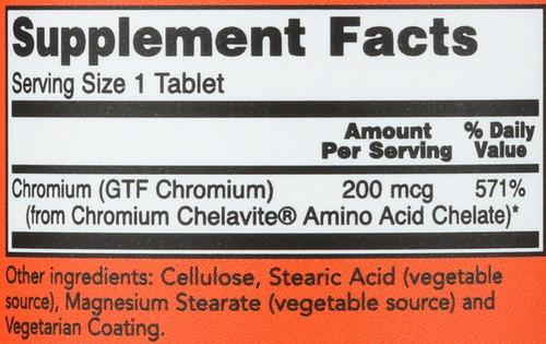 GTF Chromium 200 mcg Yeast Free - 100 Tablets