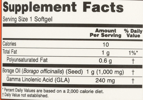 Borage Oil 1000 mg - 120 Softgels