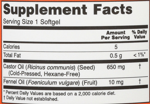 Castor Oil 650 mg - 120 Softgels