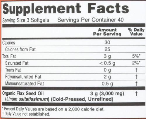 Flax Oil 1000 mg - 120 Softgels