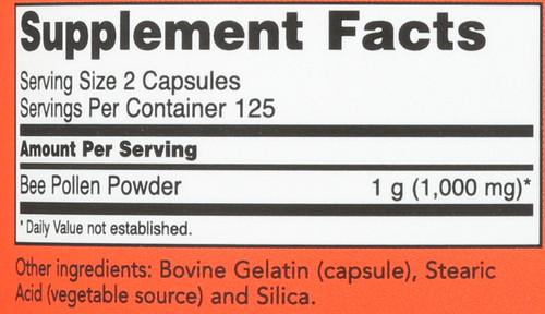 Bee Pollen 500 mg - 250 Capsules
