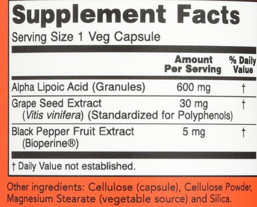 Alpha Lipoic Acid 600mg - 60 Veg Capsules