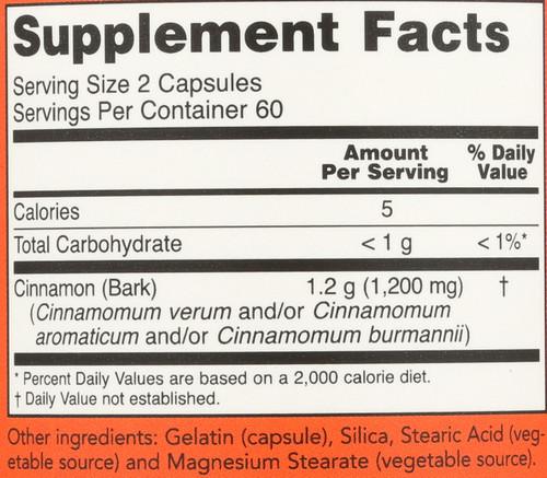 Cinnamon Bark 600 mg - 120 Capsules