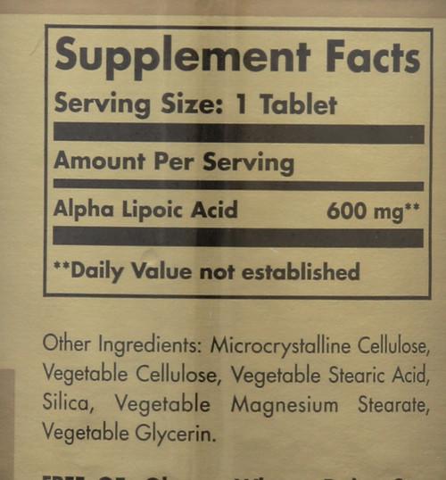 Alpha Lipoic Acid 600mg 50 Tablets