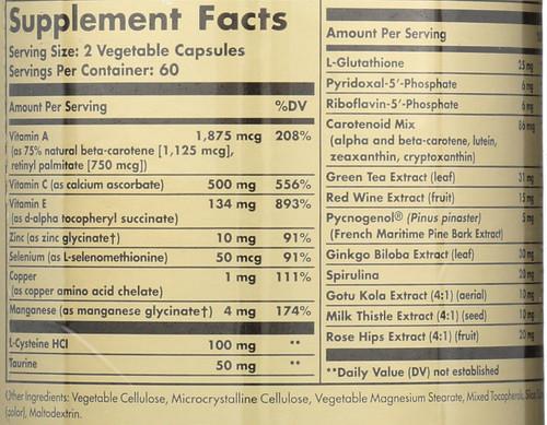 Advanced Antioxidant Formula 120 Vegetable Capsules