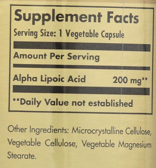 Alpha Lipoic Acid 200mg 50 Vegetable Capsules