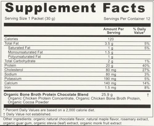 ORGANIC BONE BROTH PROTEIN - DARK CHOCOLATE - 12 PACKETS