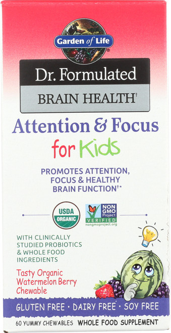 Dr. Formulated Brain Health Attention and Focus for Kids Organic 60 Chewables