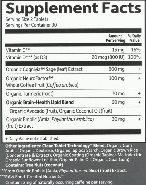 Dr. Formulated Brain Health Memory and Focus Organic 60 Tablets