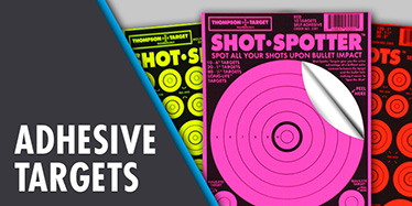 Ultra bright adhesive peel and stick Thompson Targets for shooting. Assorted pistol, rifle, and shotgun shooting targets