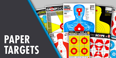 High quality bright paper Thompson Targets for shooting. Assorted rifle, handgun, and shotgun targets