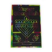 Single Hanukkah (Chanukah) Menorah Scratch Art