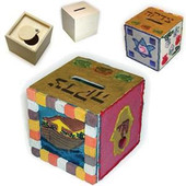 Paint your own Tzedakah Box Pushka for coloring and painting
