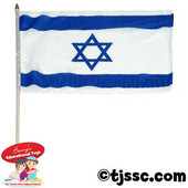 Israeli Flag on Wooden Stick