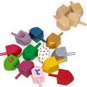 Small Wooden Dreidels for Decoration Hanukkah arts and craft project