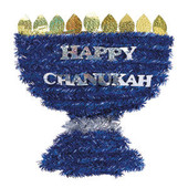 Chanukah Menorah Shaped Tinsel Decoration