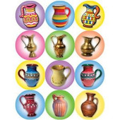 Chanukah Colorful Oil Pitchers Stickers