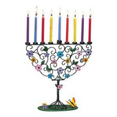 Flowering Tree Hand-Crafted Metal Menorah