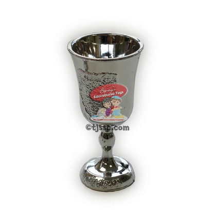 Silver disposable, washable, and reusable plastic kiddush cup