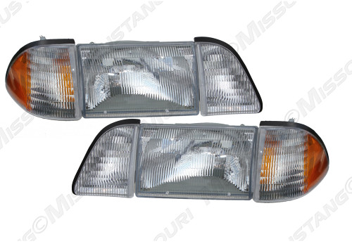 1987-1993 Ford Mustang head lamp kit, 6 piece set with amber side marker lamps.