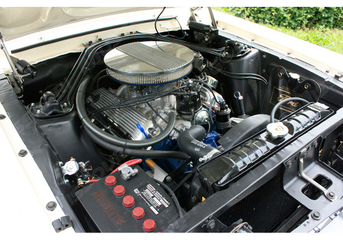 Air cleaner installed on a 289 with matching valve covers.