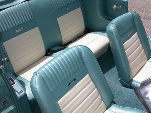 1965-1966 Ford Mustang coupe, convertible and fastback Pony seat upholstery full set. Covers two front buckets and rear seat.