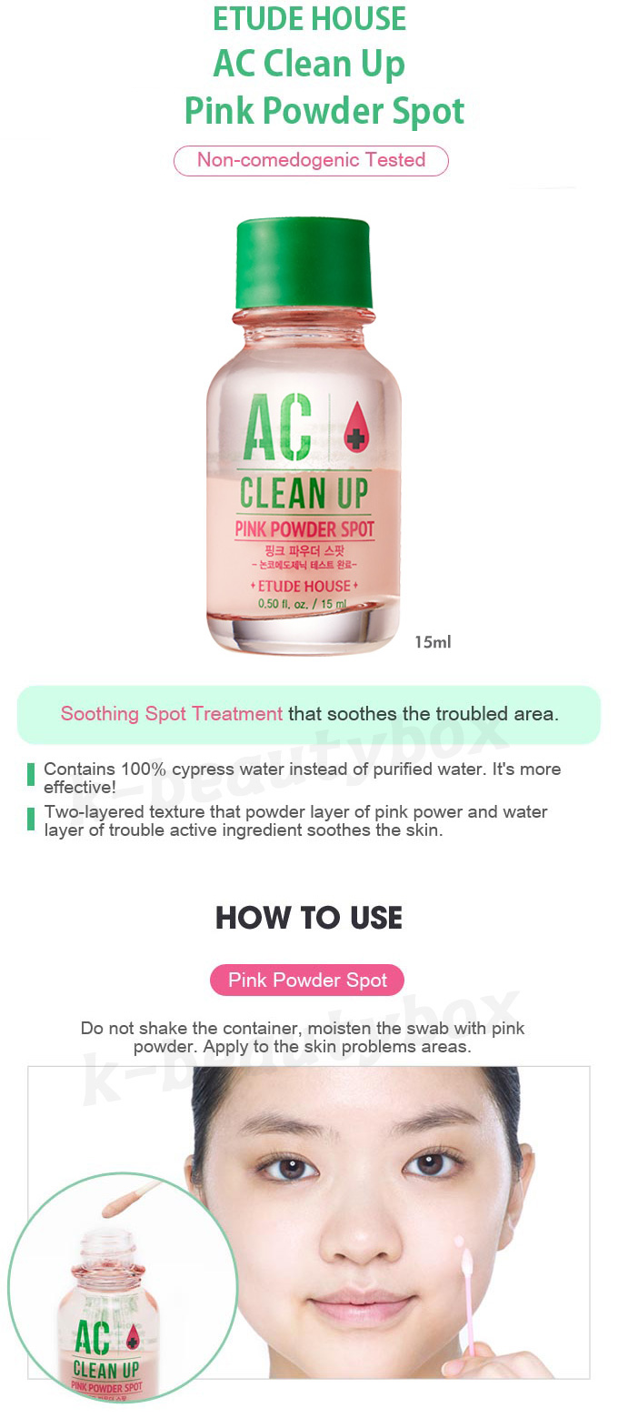 Image result for Etude House Ac Clean Up Pink Powder Spot 15ml