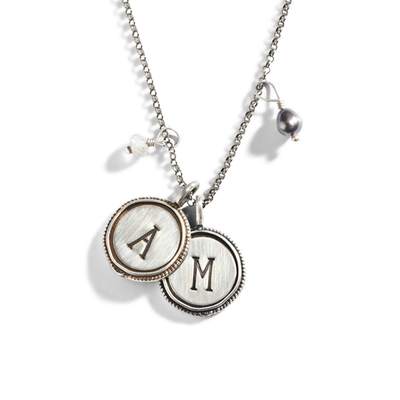 Vintage initial necklace stamped initial necklace vintage initial stamped necklace aloadofball Choice Image
