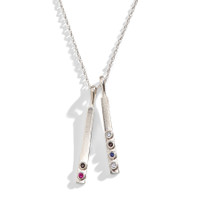 Minimalist Modern Birthstone Bar Necklace in sterling silver.