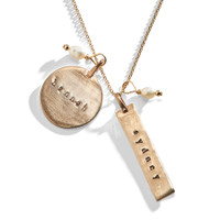 Basic Double Sided Hand Stamped Charm Necklace in Golden Bronze.