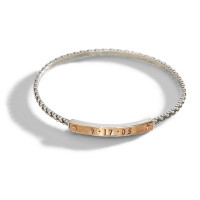 Ina Personalized Stacking Bangle Bracelet in mixed metal bronze and sterling.
