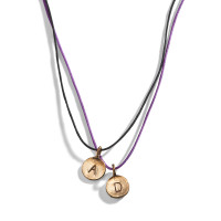 Choker String Necklace with Personalized Initial Charm