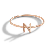 Classic 14K Gold Initial Block Letter Ring in Rose Gold.