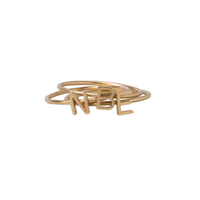 Classic 14K Gold Initial Block Letter Ring in Yellow Gold.