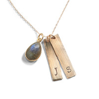 Brigitte Modern Initial Necklace in Yellow Gold-Filled.